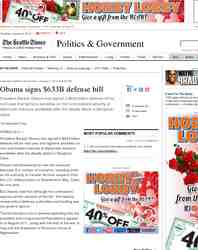Obama signs 633B defense bill: Seattle Times
